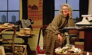 Angela Carter at home in Clapham, south London, c1985