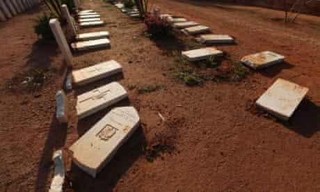 Gravestones damaged by an Islamist group