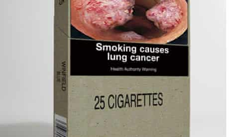 A cigarette package with the branding removed