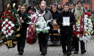 The funeral ceremony of Magnitsky at a cemetery in Moscow