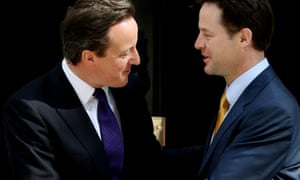 David Cameron and his deputy Nick Clegg on the steps of 10 Downing Street