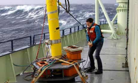 Helen Czerski working on deck in extreme conditions