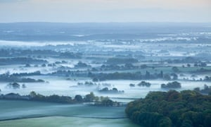 View East at dawn in October at Black Cap, South Downs, East Sussex
