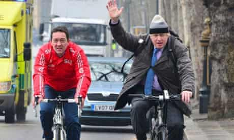 Mayor Boris Johnson with Olympic cyclist Chris Boardman