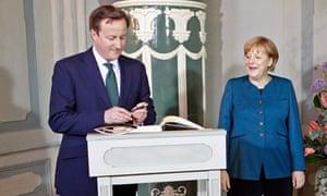 German Chancellor Merkel meets with Britain's Prime Minister David Cameron