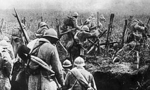 French soldiers moving into attack during the battle of Verdun in 1916