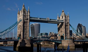 Tower Bridge, viewed from downstream, as it now appears with 20 Fenchurch Street 'crashing' into the view behind it.