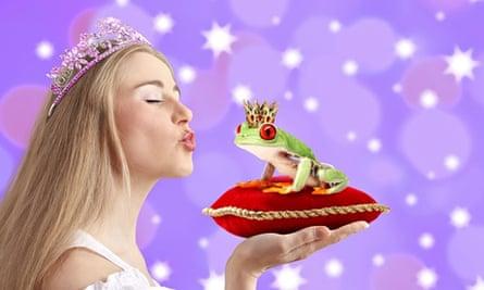 Woman kissing a frog prince