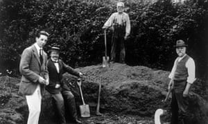 Men digging at the site in East Sussex where Piltdown Man was discovered in 1912. For years thought to be an evolutionary missing link, it was in fact a hoax. Photograph: Photograph: Nils Jorgensen/REX