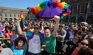 Supporters for same-sex marriage await the referendum result in Dublin.