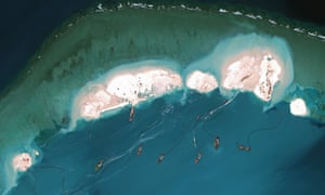 Chinese dredgers and construction work on the once-tiny islet of Mischief Reef.