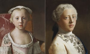 'Clothes are the only details that push them back into the past': two 1754 portraits of Princess Louisa Anne, left, and her brother, George, Prince of Wales by Jean-Etienne Liotard.