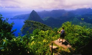 Hiker Admiring View from Peak of Gros Piton Mountain