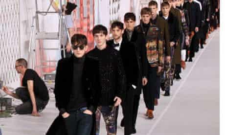 Men on catwalk