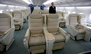 Business-class seating on a plane
