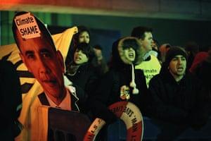 Copenhagen: the result: Activists demonstrate outside the Bella Center.