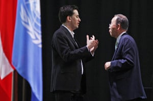 Copenhagen: the result: Ed Miliband speaks to UN Secretary General Ban Ki-Moon.