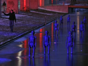 Copenhagen: the result: Sculptures are illuminated as they stand in water outside the Bella Centre