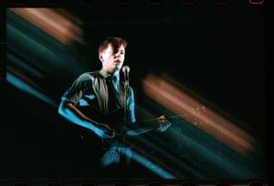 Kevin Cummins' Manchester: Bernard Sumner of New Order on stage in 1981, by Kevin Cummins