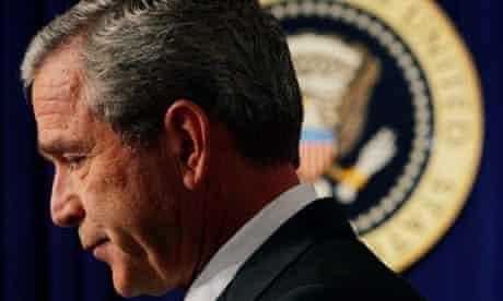 George Bush leaves the Whitehouse