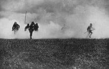 German soliders advance through poison gas cloud, first world war