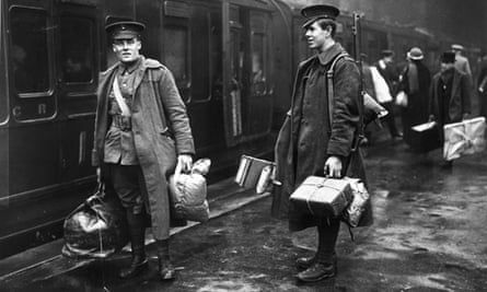 Two soldiers at London's Victoria Station about to leave for the front line
