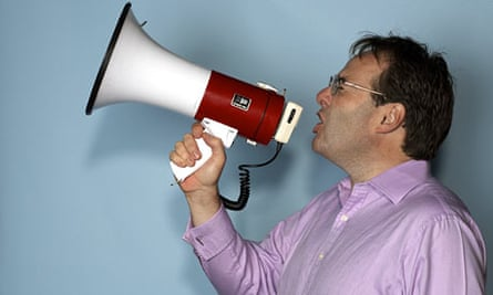 Quentin Letts holding loud hailer