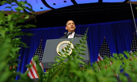 Barack Obama speaking on climate change at the Massachusetts Institute of Technology