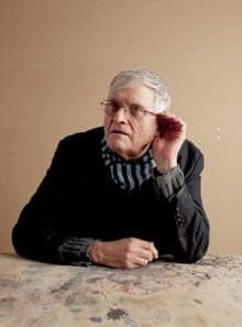 David Hockney cupping his ear
