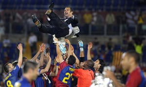Pep Guardiola is thrown in the air