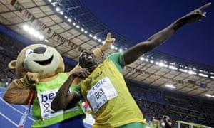 Usain Bolt celebrates with Berlino
