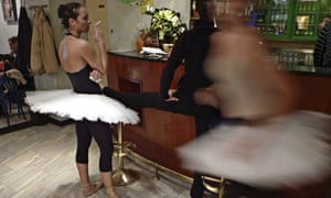 Ballet dancer smokes in a theatre cafe in Zagreb
