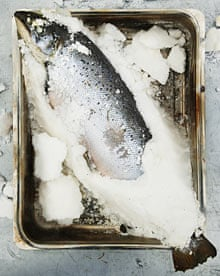 Whole fish baked in salt