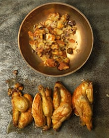 Roasted poussins with chestnut torn bread stuffing