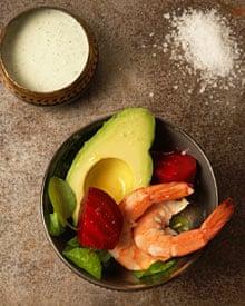 Prawn, avocado and beetroot salad