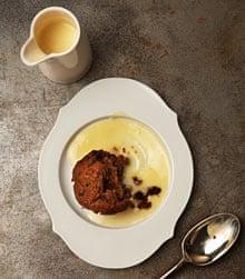 plum puddings with custard