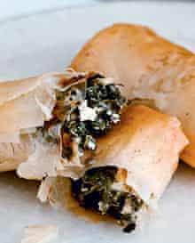 Spinach and feta filo rolls