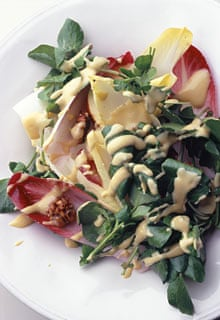 winter salad with blue-cheese dressing