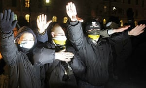 Russian Right-wing demonstrators give the Nazi salute