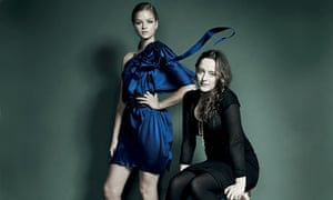Alice Temperley and a model wearing her dress