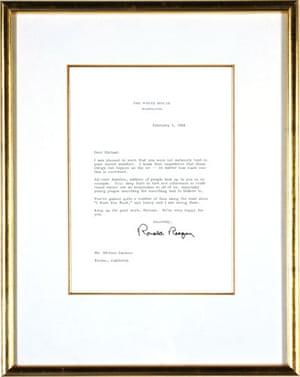 Michael Jackson auction 2: Ronald Reagan Letter To Michael Jackson