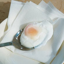 Poached egg draining
