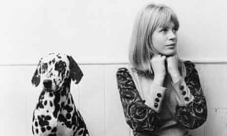 Marianne Faithfull with her pet Dalmatian