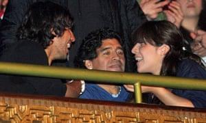 Sergio Aguero, Diego Maradona and daughter Giannina