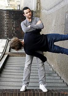 Daniel Mays being held sideways