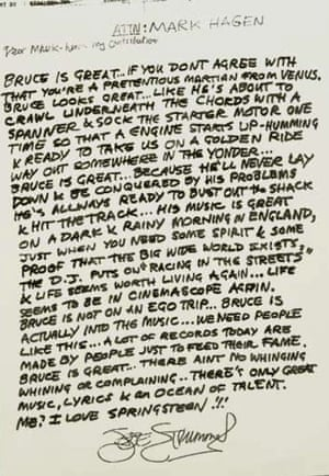 Joe Strummer's reference letter for Bruce Springsteen