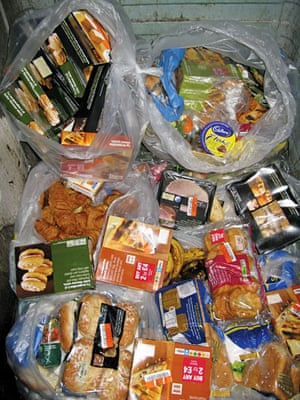 Food waste: The contents of a bin outside a village shop, Sussex