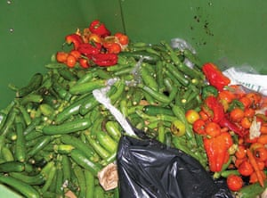 Food waste: The contents of the bins of an organic fruit and vegetable shop