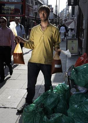 Food waste: Tristram Stuart with bags of soup