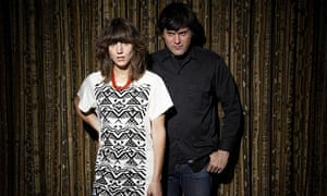 Fiery Furnaces in front of curtain